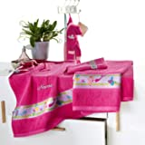 Kinderbutt Frottier-Set 3-tlg. inkl. Bestickung Frottier pink Größe 70x110 cm + 50x70 cm + 15x21 cm