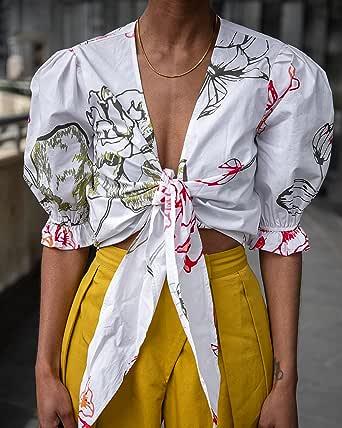 The Drop Haut pour Femme, Court, Noué sur le Devant, Blanc à Imprimé Floral, par @signedblake