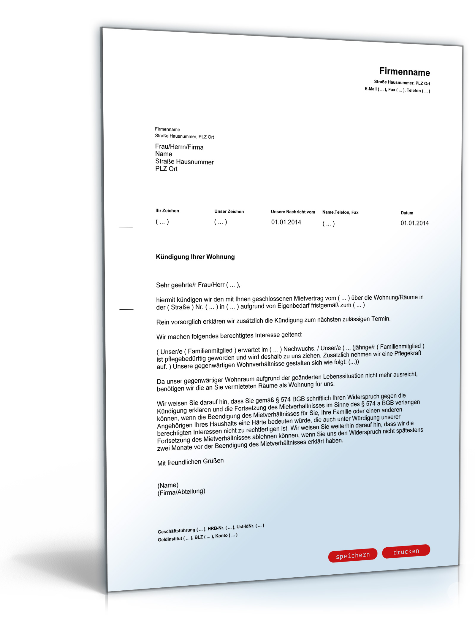 Kündigung Mietvertrag Eigenbedarf (PDF) [Download]