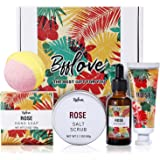 Pamper Gifts for Women-BFFLOVE Rose Scent Gift Set, Spa Gift Box for Women, Birthday Gift Set for Her, Bath Sets Includes Mas