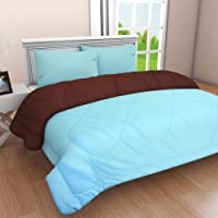 Clasiko Microfibre 300 TC Reversible Comforter (Blue & Brown_King)