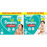 Pampers Diaper Pants Monthly Box Pack, Small, 172 Count & Pampers Diaper Pants Super Value Box, Medium (Pack of 200)
