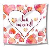 """WeddingTree Telo """"Just Married"""" per Il Matrimonio – Cuore da Ritagliare e 2 Forbici – Gioco per Gli sposi – Decorazione con F"""