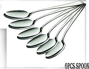 King International Stainless Steel Silver Spoon Set of 6, 7 cm