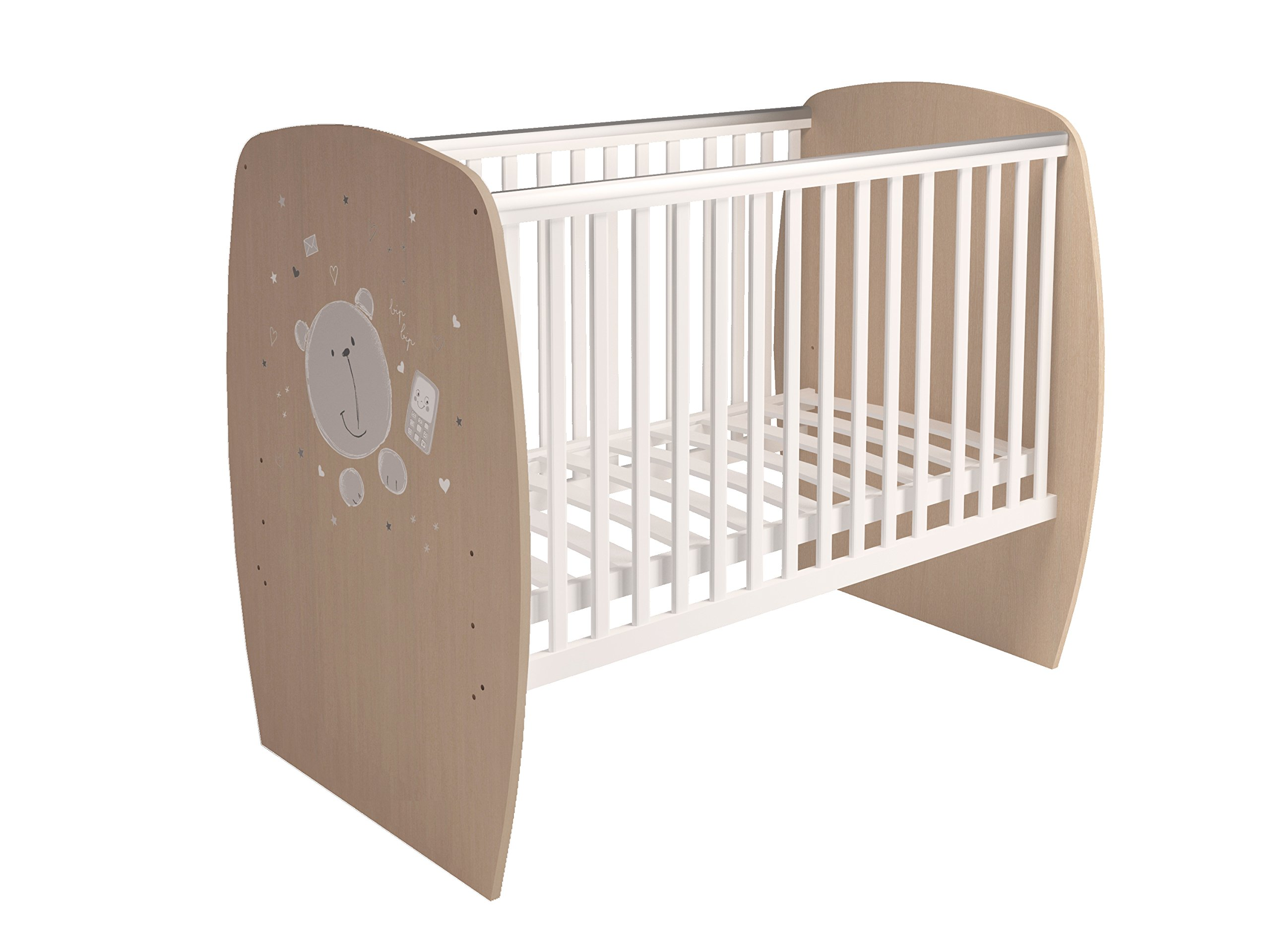 Polini Kids 0001527.62 French 700 Teddy Design Baby Cot, White-Pastel Oak Polini Kids 3 heights of the slatted bed base Protective PVC rails and soft-cornered bed sides Available with and without a drawer 2