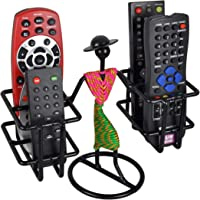 D&V ENGINEERING - Creative in innovation Metal Remote Holder,Remote Stand,Remote Organizer,Table top Remote Holder Stand for ac tv DVD dth Remotes, showpiece Living Room Decor (4-Slot,Pink & Green).