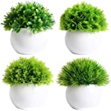 Dekorly Set of 4 Mini Artificial Plants Potted Fake Bonsai Ball Plant Faux Green Grass in White Plastic Pots for Outdoor and