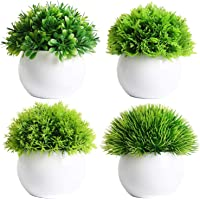 Dekorly Set of 4 Mini Artificial Plants Potted Fake Bonsai Ball Plant Faux Green Grass in White Plastic Pots for Outdoor…