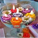 KIDZ00 12 Pieces Beautiful Rose Flower Wax Floating Candles in Water Flower Shaped Diyas/Candles for , Diwali Gift, New…