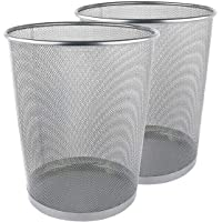 Zuvo Lot de 2 corbeilles à papier rondes en maille métallique Argenté