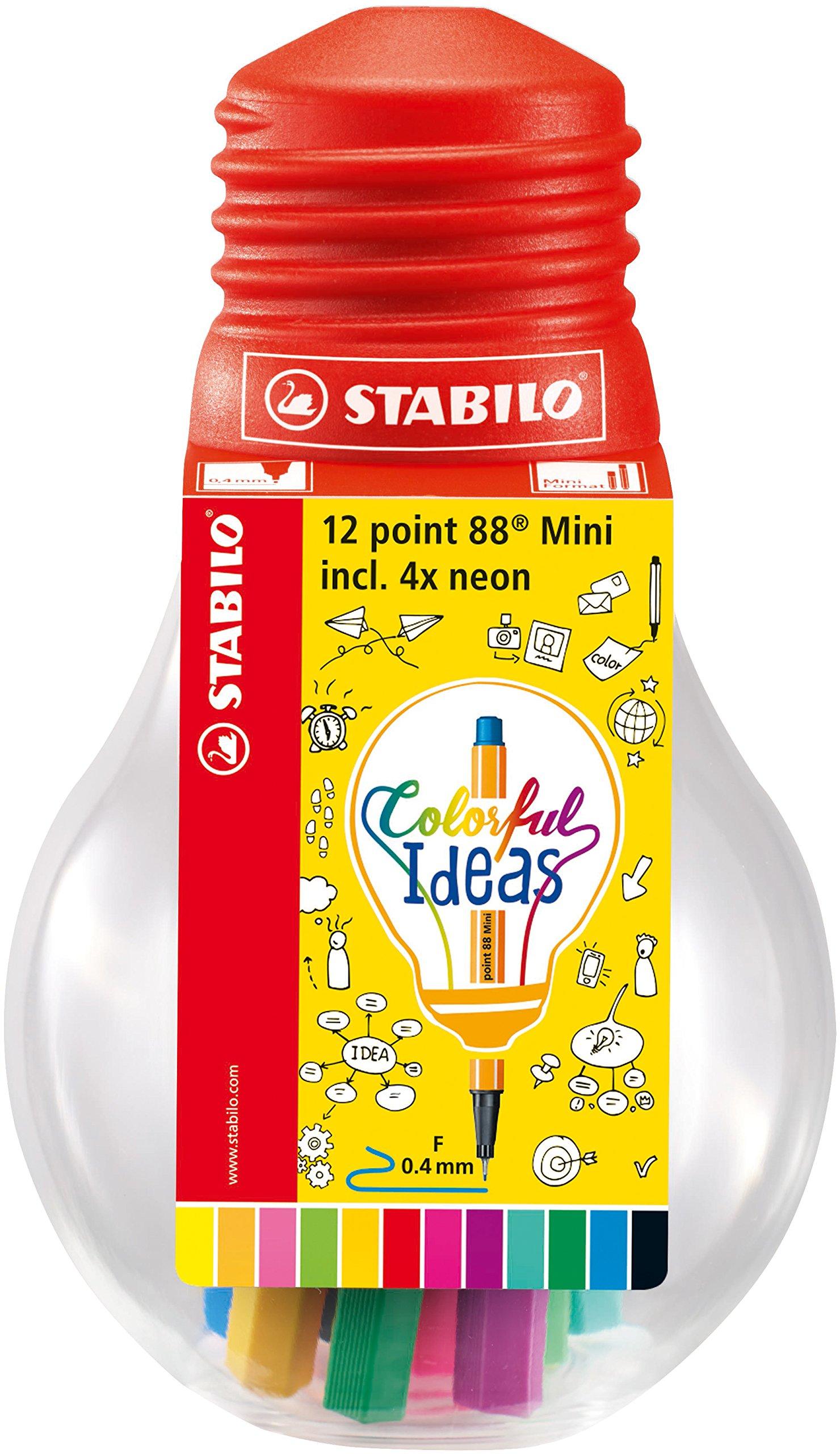 Rotulador punta fina STABILO point 88 mini – Estuche Colorful Ideas con 12 colores