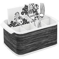 mDesign range couverts avec poignées – boîte de rangement décorative pour cuisine, salle à manger, jardin ou pique-nique…
