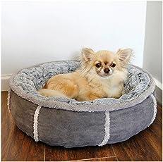 Rosewood 04370 Hundebett in Donut-Form mit dicker Plüsch-Innenseite, grau, Länge: 50cm
