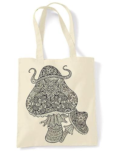 Magic Mushrooms Large Print Tote Shoulder Shopping Bag (Cream ...