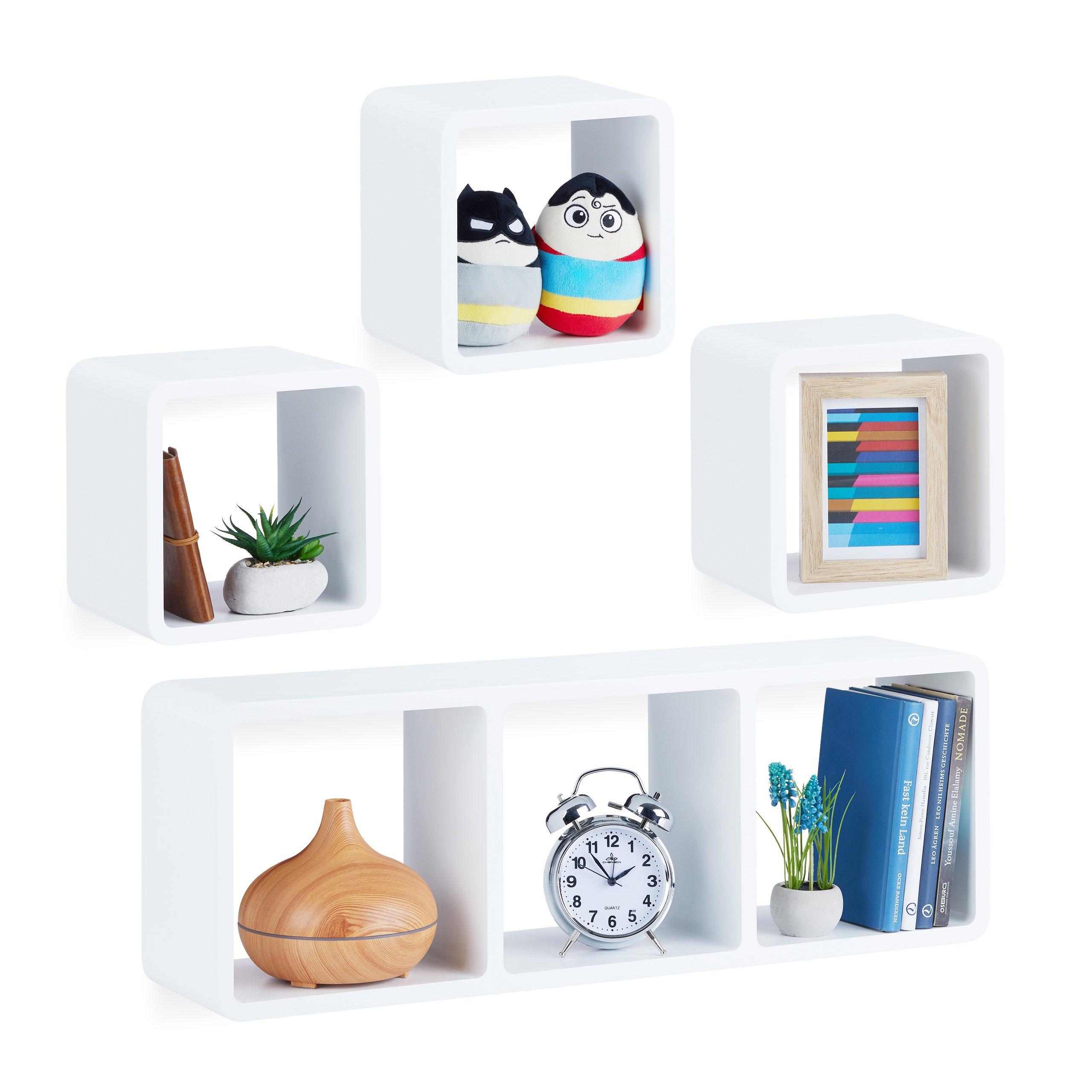 Cubi Contenitori Da Parete.Relaxdays 10021888 49 Set 4 Cubi Da Parete In Design Moderno Montaggio Verticale E Orizzontale Legno Mdf Bianco Casame
