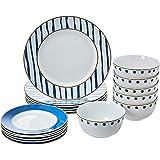 AmazonBasics Porcelain Dinnerware Set - 18 Piece, Blue