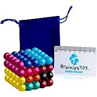 Brainiestoy – 100 Billes Aimantées Colorées 5mm en Néodyme - 10 Couleurs - Aimants Puissants pour Tableau, Frigo, Murs…