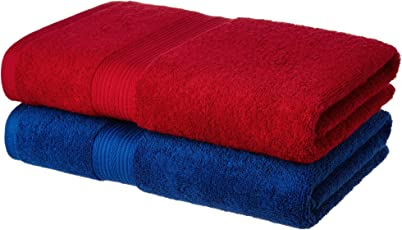 Amazon Brand - Solimo 100% Cotton 2 Piece Bath Towel Set, 500 GSM (Iris Blue and Spanish Red)