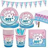 Amycute 114 Pezzi Kit Baby Shower Gender Reveal Stoviglie Boy or Girl, con Bicchieri di Carta, Tovaglioli di Carta, Piatti Ca
