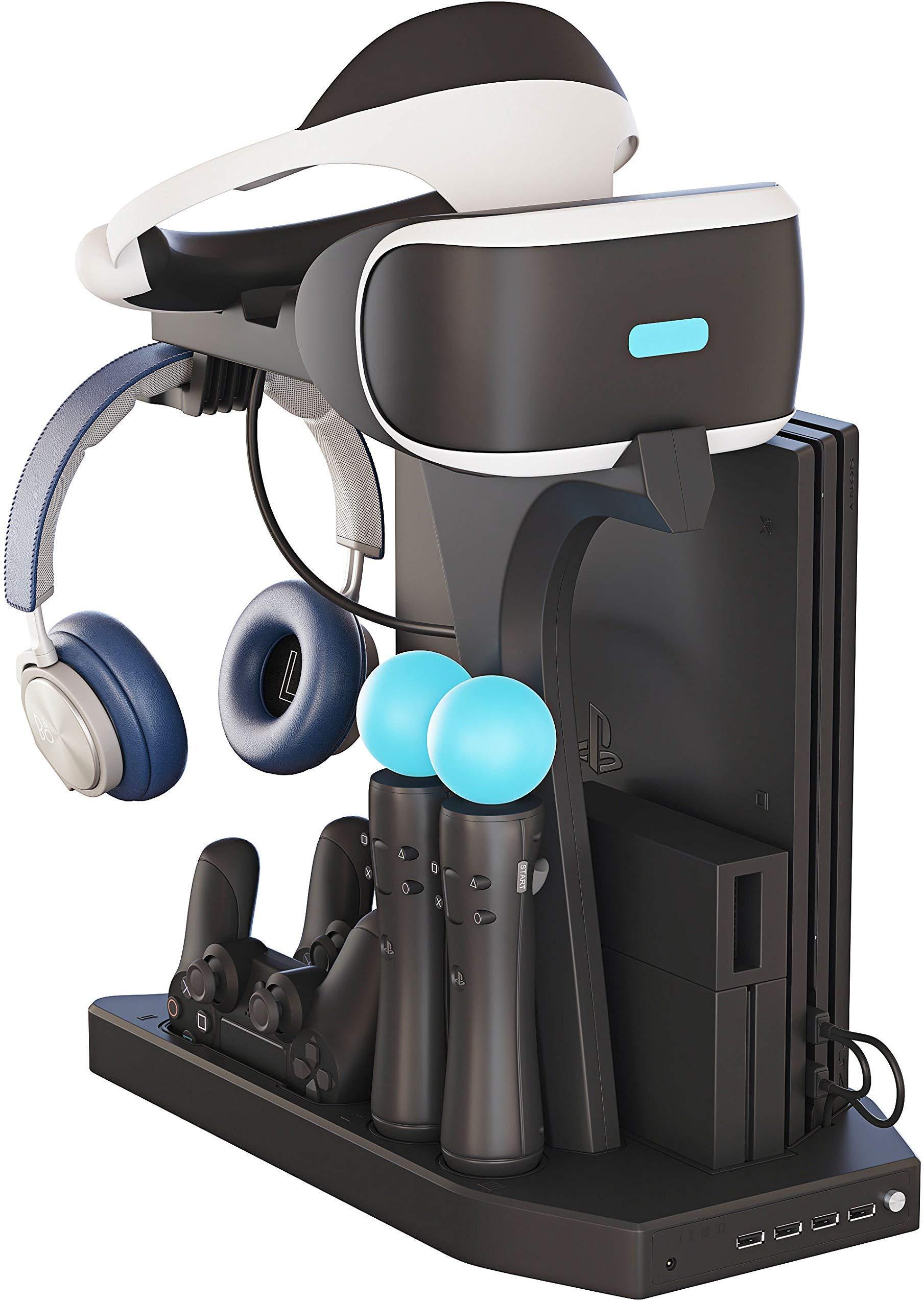 Support Vertical pour PlayStation – Fisound PS VR Stand, Ventilateur de refroidissement, Station de Charge Controller Chargeur et USB Hub for Manette DualShock, Move Motion Contrôleur, PS4, Slim, Pro