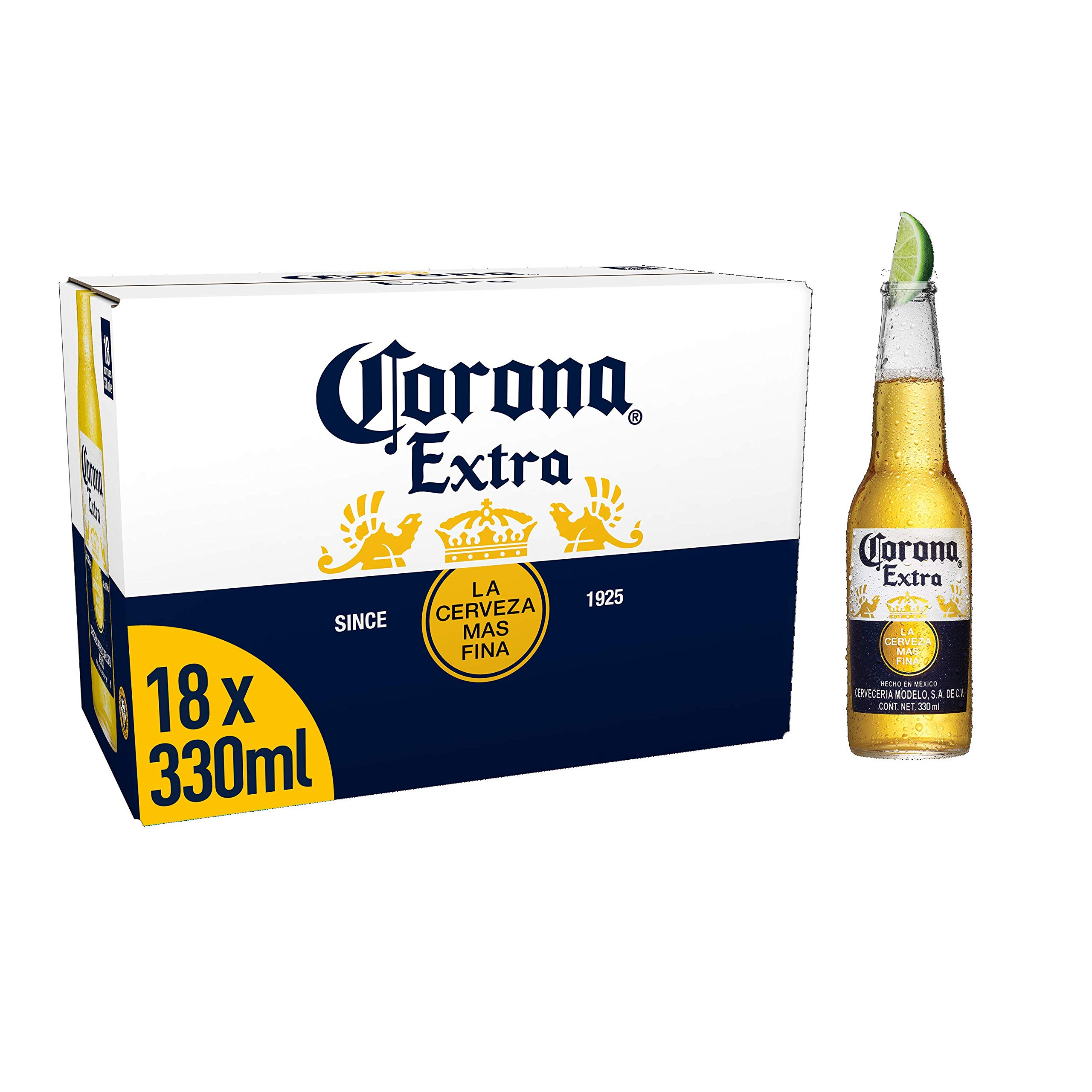 Corona Extra Mexican Lager Beer Bottles, 18 x 330ml