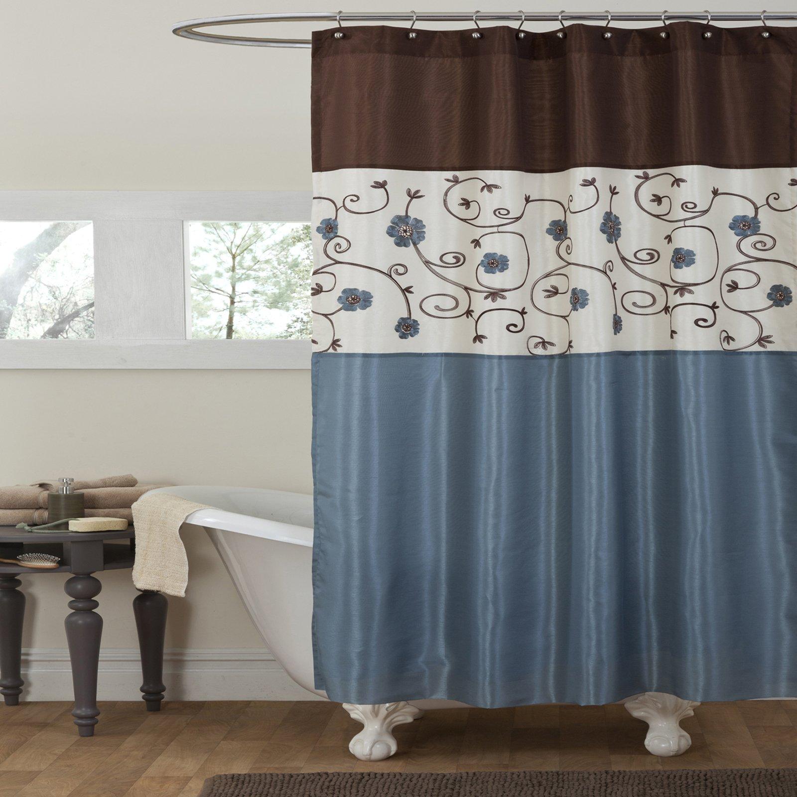 Lush Decor Royal Garden Shower Curtain, Blue, Standard