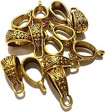 Goelx Antique Golden Bails/Loops for Jewellery Making & Craft Work - Design 3