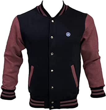Coton Coupe Mens Heavy Weight Soft Cotton Fleece Baseball Varsity Jacket Button Down with Hidden Mobile Pocket