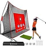 SAPLIZE Filets de Golf 10 x 7ft + Bundle de Tapis de Frappe, Filet d'entraînement avec Trous de Frappe, Disponible pour l'ext
