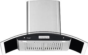 Prestige 90cm 850 m3/hr Chimney (GKH 900 CS, 2 Baffle Filters, Steel & Black)