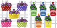Trust Basket Dotted Oval Railing Planters (Multicolour, Pack of 5) & Trust Basket Round Ribbed Railing Planters (Multicolour, Pack of 5)
