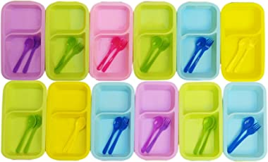 Kieana Rectangular Maggi Plates with fork and Spoon (Multicolour) - Pack of 12