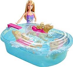 Mattel Barbie DMC32 Barbie Die Große Hundesuche Schwimmendes Hündchen und Pool, inkl. Puppe