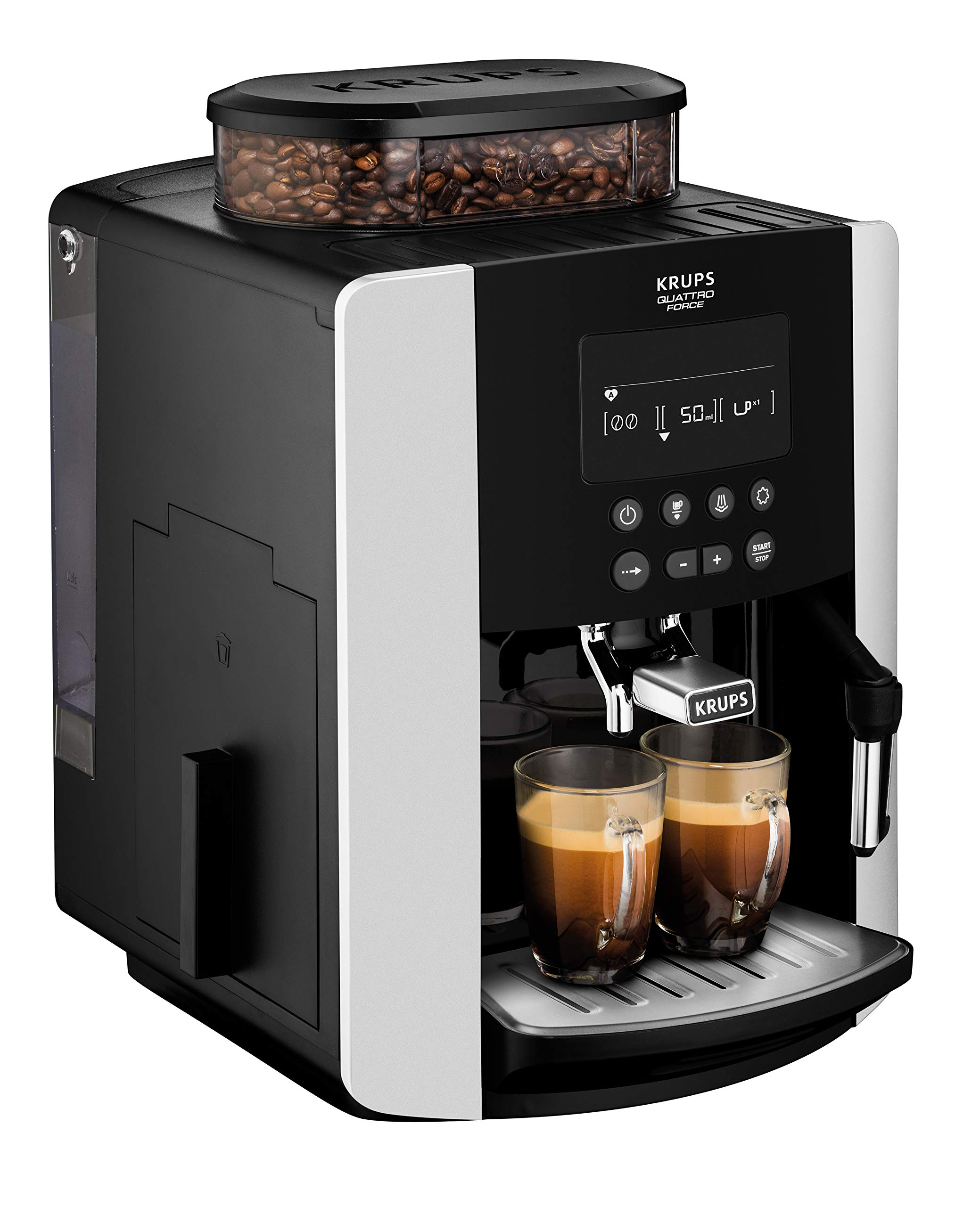 Krups-EA8178-Arabica-Display-Quattro-Force-Kaffeevollautomat-1450-Watt-Wassertankkapazitt-18l-Pumpendruck-15-Bar-LCD-Display-schwarzcarbon-optik