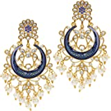 Peora Traditional Gold Plated Crystal & Pearl Earrings For Women & Girls