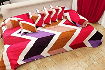 Choice Homes 3D Diwan Set 8 Pieces of Combo 5 Cousins 2 Bolster Cover with Single bedsheet