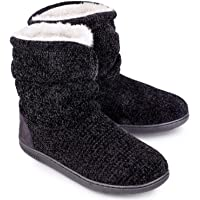 LongBay Ladies' Chenille Knit Bootie Slippers Comfy Plush Fleece Memory Foam Boots House Shoes