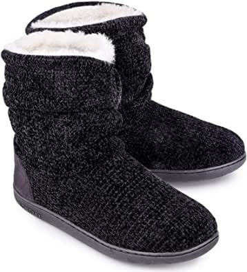 LongBay Ladies' Chenille Knit Warm Boots Slippers Soft Plush Fleece Booties Slipper Memory Foam Women Bootee Slippers House Shoes