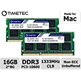 Timetec Hynix IC compatible with Apple 16GB Kit (2x8GB) DDR3 1333MHz PC3-10600 SODIMM Memory Upgrade For selected MacBook Pro/iMac/Mac Mini/Server