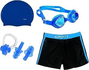 GOLDEN GRIL Swimming Kit- Silicon Cap, Ear Plug, Nose Clip, Goggles with Authentic Men Swim Trunks Boxer Nylon, XL (Multicolour)