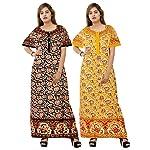 Silver Organisation Cotton Nightwear Gown Nighties Sleepwear Maxi Dress (Combo Pack of 2 pcs)