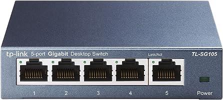 TP-Link TL-SG105 5-Port Gigabit Netzwerk Switch (bis 2000 MBit/s, 10/100/1000Mbp, geschirmte RJ-45 Ports, Metallgehäuse, optimiert Datenverkehr, IGMP-Snooping, unmanaged, lüfterlos) blau metallic