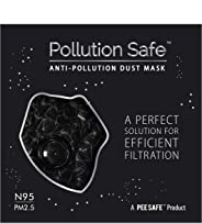 Pollution Safe Reusable PM 2.5, N95, 4 Layered Filtration Anti Pollution and Anti Dust Mask for Men and Women (Black) Pack of