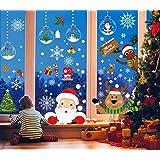 Voqeen Pegatinas de Navidad Calcomanías para Ventanas Peeping Santa Snowflakes Lindo Decoración de Ventanas Santa Claus Adhes