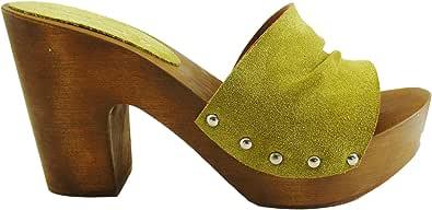 Silfer Shoes Zoccolo in Vera Pelle di camoscio, Made in Italy-