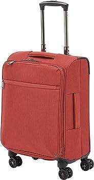 AmazonBasics - Belltown Wattierter Weichschalen-Rollkoffer - 52 cm, Rot