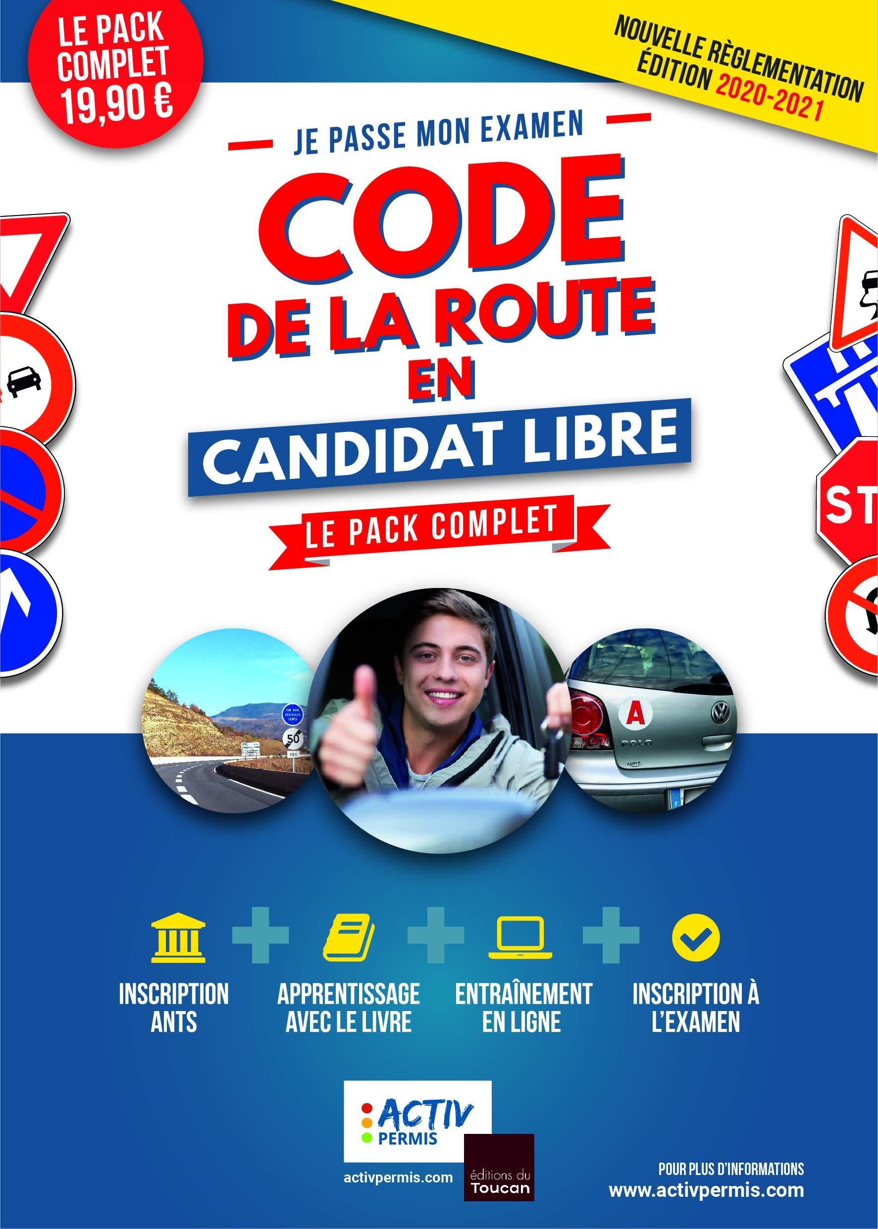 Code de la route 2020 en candidat libre - le pack complet : apprentissage, entrainement, inscription
