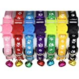 Posh Pets Adjustable Paw-Print Cat Kitten or Puppy Collar with Bell and Safety Breakaway Buckle