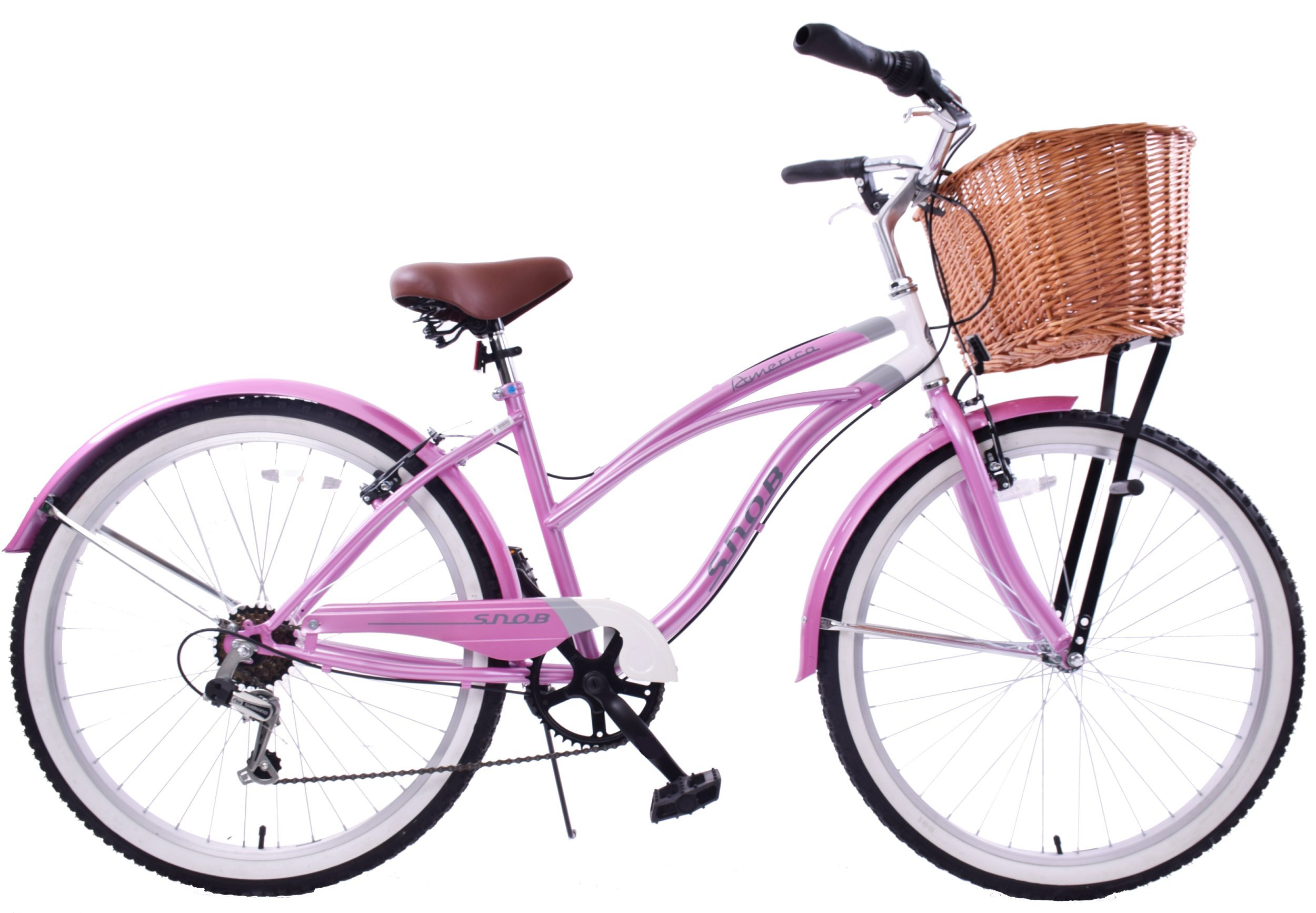 "81GsMrdFH%2BL - NEW CLASSIC LADIES PINK COMFORT BEACH STYLE CRUISER BIKE & WICKER BASKET 16"" FRAME"