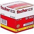 FISCHER plug SX, afmeting 10 x 50 mm, met flens, verpakking à 50 stuks, Grijs, 10 x 50 mm